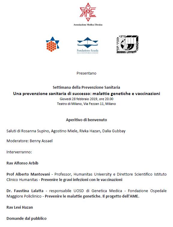 Programma serata della prevenzione 28.02.2019