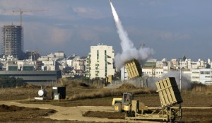 Israeli Iron Dome fires missile against Grad missile from Gaza Strip