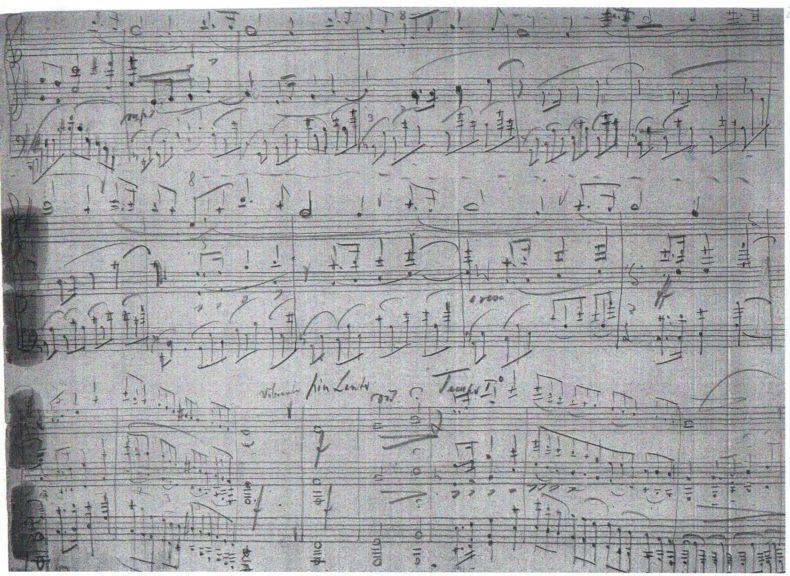 Pagina dal manoscritto della Sonata per violino e pianoforte scritta da Hermann Gürtler a Gries, Bolzano