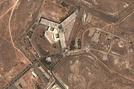 May 15, 2017 - Damascus, Syria - The satellite image shows what U.S. officials say is a prison complex modified to support a crematorium. The Syrian government has constructed a crematorium inside the Sednaya military prison near Damascus to dispose of the bodies of prisoners that it continues to execute inside the facility, the State Department said Monday. (Credit Image: © 2017 DigitalGlobe via ZUMA Wire)