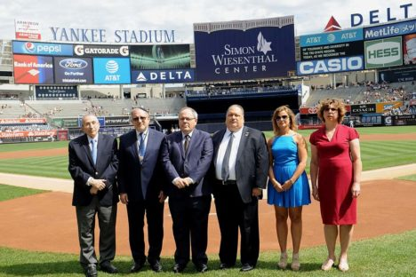 NEW YORK, NY - SEPTEMBER 11:  (L-R)  Rabbi Marvin Hier, Rabbi Meyer H. May,  Dani Dayan, Ira J. Goldstein, Ann S. Arnold and  Dr. Lisa Wisotsky attend the 911 Yankees Event: Simon Wiesenthal Participation at Yankee Stadium on September 11, 2016 in New York City.  (Photo by Brad Barket/Getty Images for The Simon Wiesenthal Center)