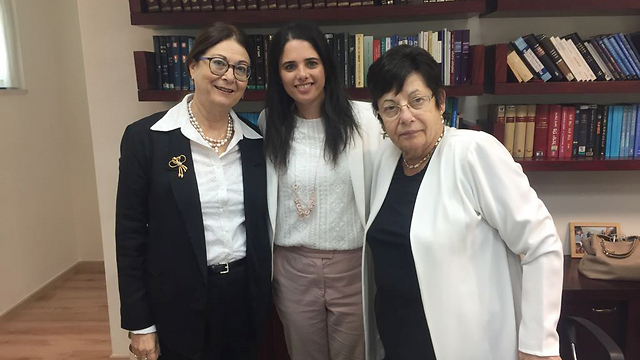 Chief Justice Hayut with Justice Minister Shaked and outgoing Chief Justice Naor