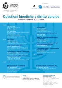 Locandina Convegno_Questioni bioetiche e diritto ebraico