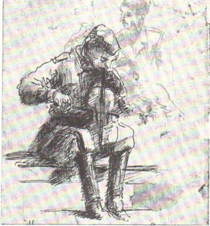 Violoncellista con il violino, disegno di Spartaco Lemmetti (1944)