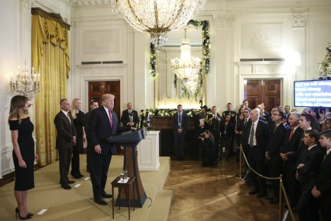 WASHINGTON, DC - DECEMBER 6: (AFP-OUT) President Donald Trump speaks during a Hanukkah reception in the East Room of the White House on December 6, 2018 in Washington, DC. (Photo by Oliver Contreras-Pool/Getty Images)