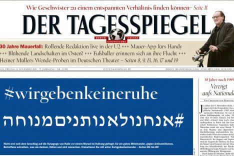 La prima pagina del quotidiano berlinese Der Tagesspiegel con il titolo a tutto campo che chiama a raccolta i lettori contro l'antisemitismo